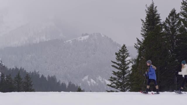 vidéos et rushes de white dog running past two women snowshoeing - randonnée en montagne