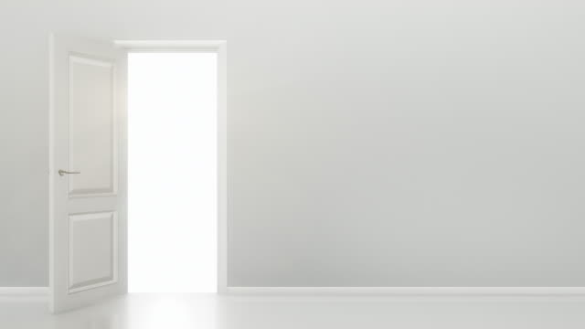 White Door Opening to a Bright Light - Empty Room | 4K