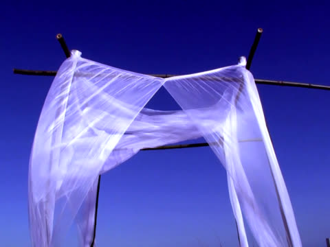 White Fabric blowing in the wind