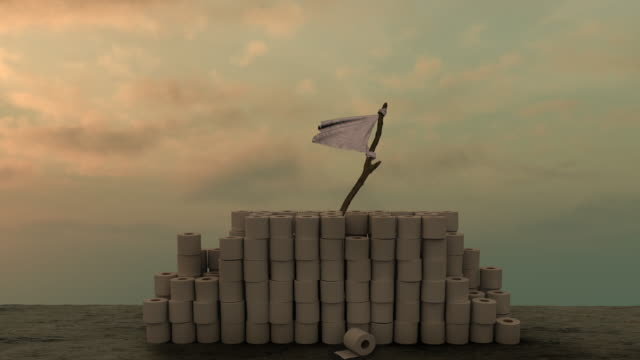 weiße flagge hinter toilettenrollen gegen sullen himmel - schutz stock-videos und b-roll-filmmaterial