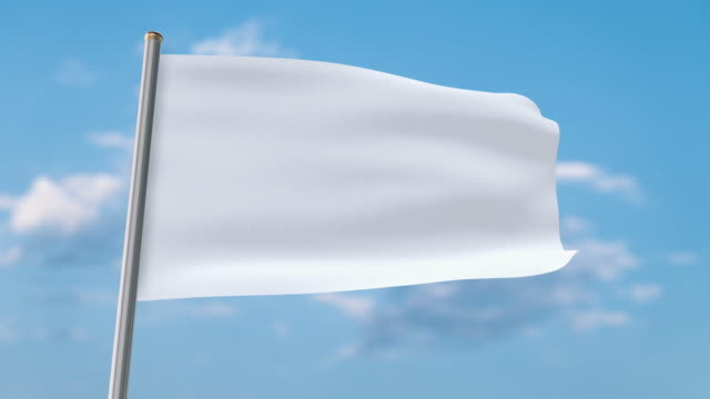 white flag waving. luma matte provided so you can put your own background. - flag stock videos & royalty-free footage