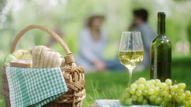 white grape and bottle of white wine with romantic couple in background in public park - hamper stock videos & royalty-free footage