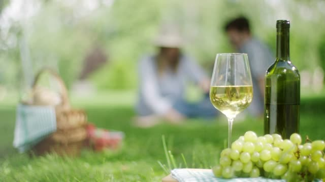 white grape and bottle of white wine with romantic couple in background in public park - white wine stock videos & royalty-free footage
