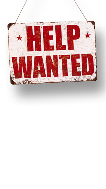 white help wanted business sign drops and swings down with room for copy below - classified ad stock videos & royalty-free footage