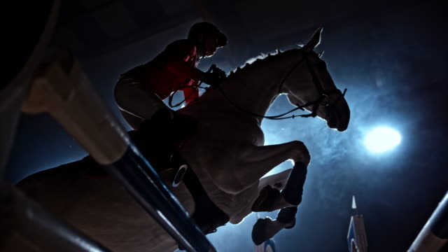 SLO MO White horse jumping an oxer in arena