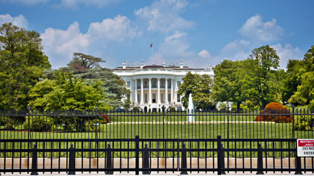white house behind the fence in washington d.c. nature. grand view. - la casa bianca washington dc video stock e b–roll