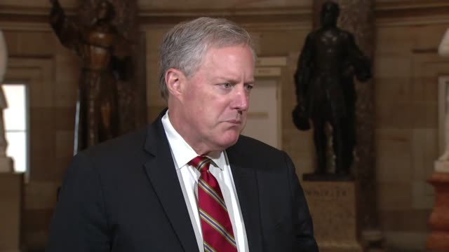 white house chief of staff mark meadows tells a reporter in statuary hall that he did not see any appropriations requests being a stumbling block to... - {{relatedsearchurl(carousel.phrase)}} stock-videos und b-roll-filmmaterial