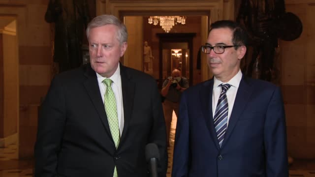 white house chief of staff mark meadows tells reporters after a ninth day of talks on the heals act coronavirus relief package that after two weeks... - manipolazione di colore video stock e b–roll