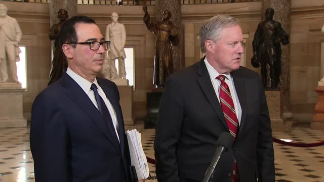 white house chief of staff mark meadows tells reporters in statuary hall that time was running out on americans needing enhanced unemployment... - manipolazione di colore video stock e b–roll