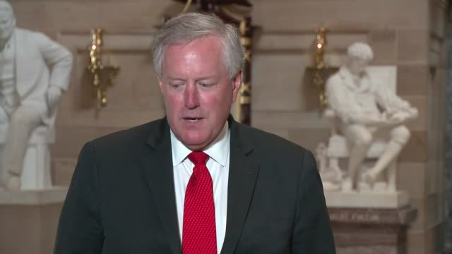 white house chief of staff mark meadows tells reporters in statuary hall as the house of representatives considered an emergency funding bill for the... - partisan politics stock videos & royalty-free footage