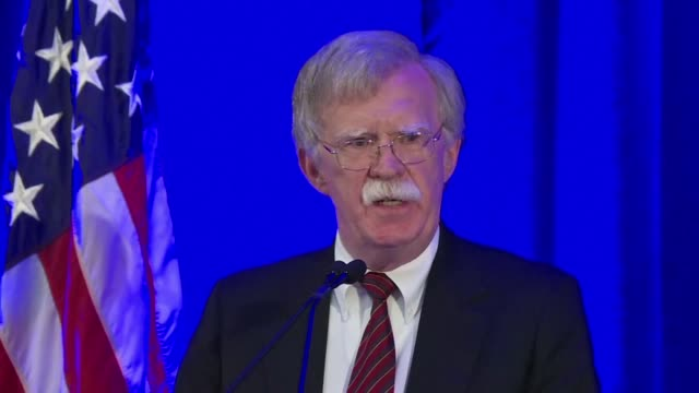 white house national security advisor john bolton speaks to the federalist society about the international criminal court the closure of the... - international criminal court stock videos and b-roll footage
