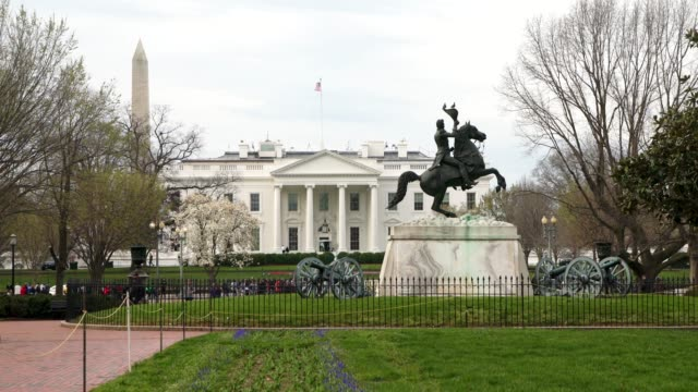 white house north from lafayette square park in washington, dc in 4k/uhd - white house washington dc stock videos & royalty-free footage