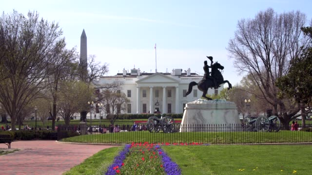 white house north from lafayette square park in washington, dc in 4k/uhd - lafayette square washington dc stock videos & royalty-free footage