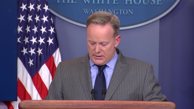 white house press secretary sean spicer addresses dishonesty in the media at first press conference of donald trump presidency - president stock videos & royalty-free footage
