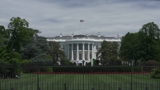 white house south lawn washington, dc in 4k/uhd - zoom in - la casa bianca washington dc video stock e b–roll