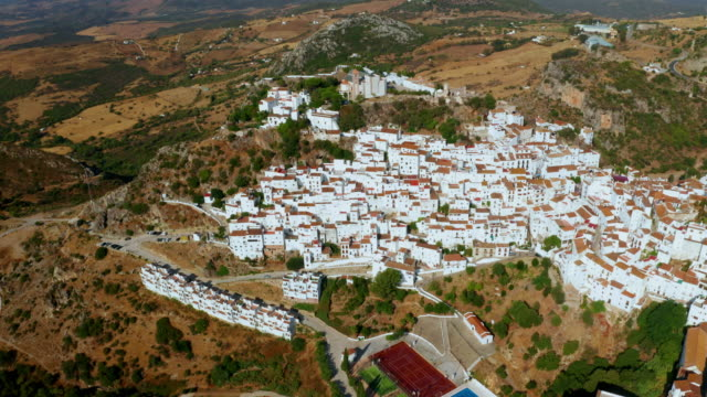 white houses, church and mountains, casares, andalusia, spain - mediterranean culture stock videos & royalty-free footage