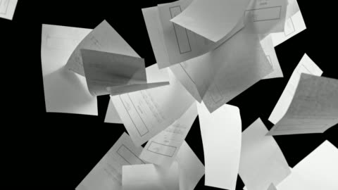 黒の背景の上に落ちて slo mo 白請求書シート - paperwork点の映像素材/bロール