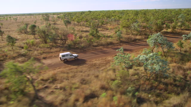 vídeos de stock e filmes b-roll de ws ts aerial white jeep through green woods with dried grass field / karumba, queensland, australia - jeep