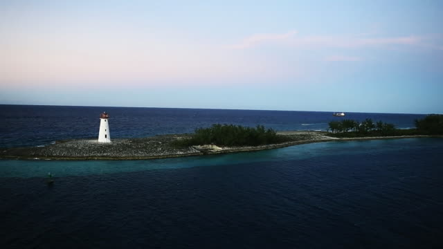 White lighthouse on an island in the Caribbean