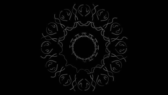 stockvideo's en b-roll-footage met witte lijn kunst voor moskee patroon en lus - loop elementen