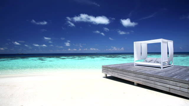 white lounge sofa on a jetty on a tropical beach, maldives, indian ocean - idyllic stock videos & royalty-free footage