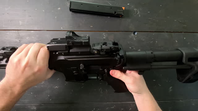 white male racking a 9mm ar-15 - gun stock videos & royalty-free footage