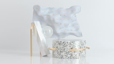 weiße marmor szene abstrakte geometrische form gold motion rendering 3d-gewebe weht wind - rohmaterial stock-videos und b-roll-filmmaterial