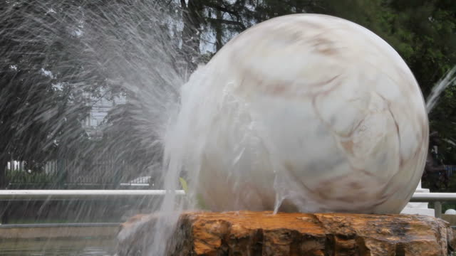 White marble sphere fountain