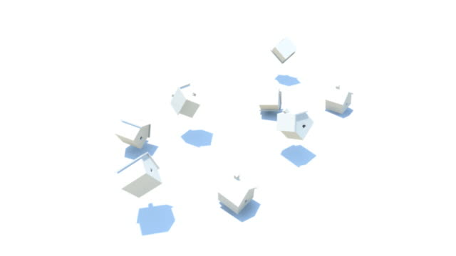 vidéos et rushes de cgi, white model houses falling and bouncing against white floor - groupe moyen d'objets