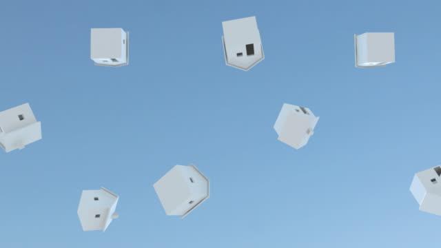 cgi, la, white model houses falling from blue sky - darlehen stock-videos und b-roll-filmmaterial
