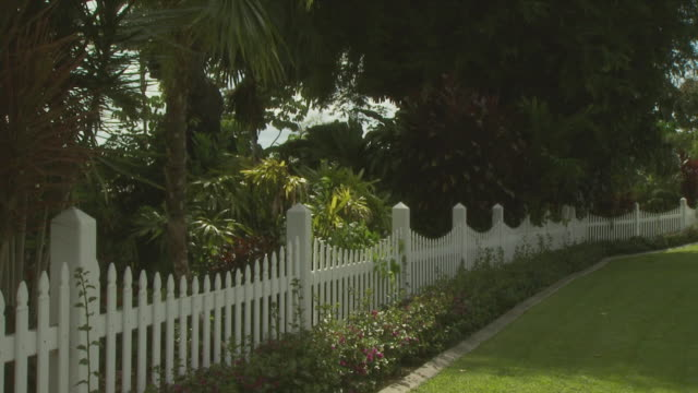 white picket fence in tropics, australia - flowerbed stock videos & royalty-free footage