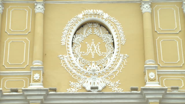 cu white plaster ornamentation decoration on upper level of igreja de sao domingos baroque architecture - baroque点の映像素材/bロール