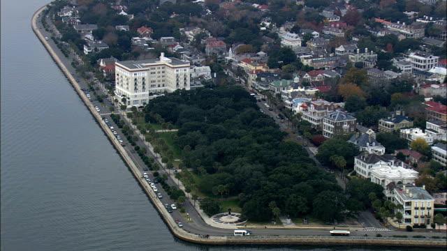 White Point Gardens  - Aerial View - South Carolina,  Charleston County,  United States