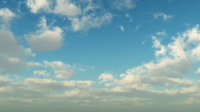 white puffs of clouds float across a summer blue sky. - sky only stock videos & royalty-free footage