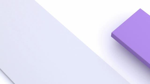 weiß lila minimale flache szene abstrakt 3d rendering-bewegungsgrafik - gruppe von gegenständen stock-videos und b-roll-filmmaterial