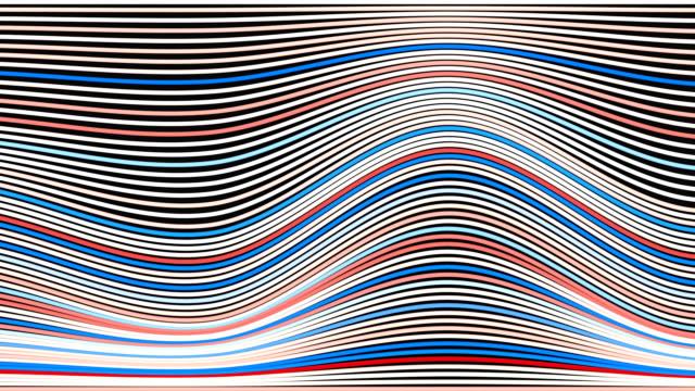 Vit röd och blå abstrakt våg ränder. Loop animation bakgrund. 3D-rendering