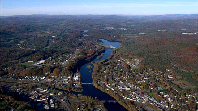 white river junction and west lebanon - aerial view - new hampshire,  grafton county,  united states - new hampshire stock videos & royalty-free footage