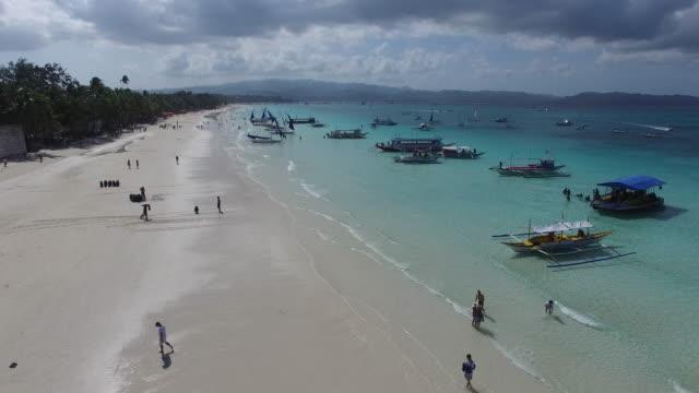 White sand beach on Boracay Island from above
