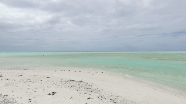 vidéos et rushes de white sandbar in the middle of a lagoon with an island - végétation tropicale