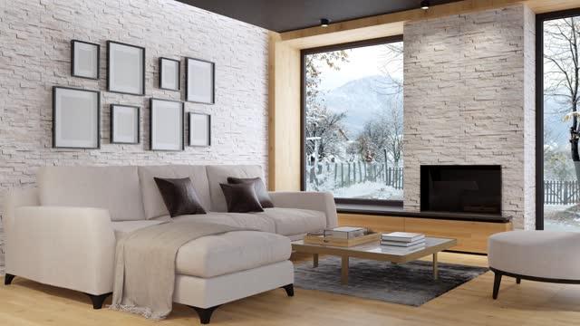 vidéos et rushes de salon scandinave blanc avec cheminée écologique. concept intérieur moderne. fond rural d'hiver. - pierre matériau de construction