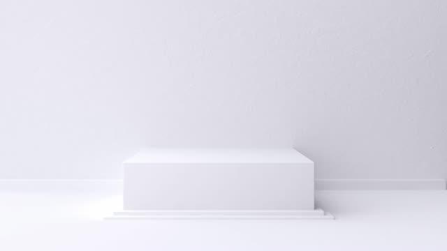 白いシーンの壁の床の最小ブランクスペース幾何学的な3d レンダリングモーション - copy space点の映像素材/bロール
