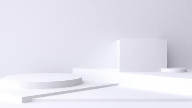white scene wall floor minimal blank space geometric 3d rendering motion - copy space stock videos & royalty-free footage