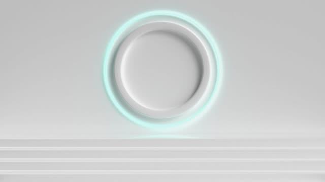scena bianca parete passi cerchio luce 3d rendering movimento - design element video stock e b–roll