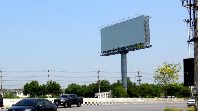 stockvideo's en b-roll-footage met witte screen billboard in salaya, nakhon pathom city - wit scherm