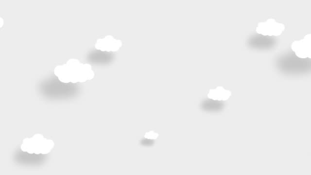 4k white sky full of clouds moving right to left. cartoon sky background. flat animation. alpha luma matte included. - cloudscape stock videos & royalty-free footage