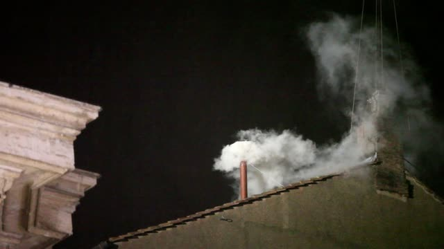 ATMOSPHERE White smoke exits from the chimney on the Sistine Chapel meaning that a new Pope has been elected at The Conclave Of Cardinals Have...