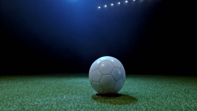 vídeos y material grabado en eventos de stock de white soccer ball in the middle of the playing field at night - nostalgia