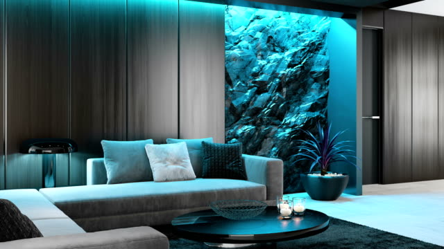 white to cyan blue led ambient light over stone wall in luxurious lounge room interior rgb ambient lights concept - home showcase interior stock videos & royalty-free footage