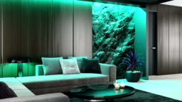White to emerald LED green ambient light over stone wall in luxurious lounge room interior RGB ambient lights concept