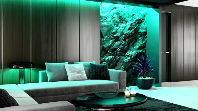 vídeos de stock e filmes b-roll de white to emerald led green ambient light over stone wall in luxurious lounge room interior rgb ambient lights concept - interiores em exposição